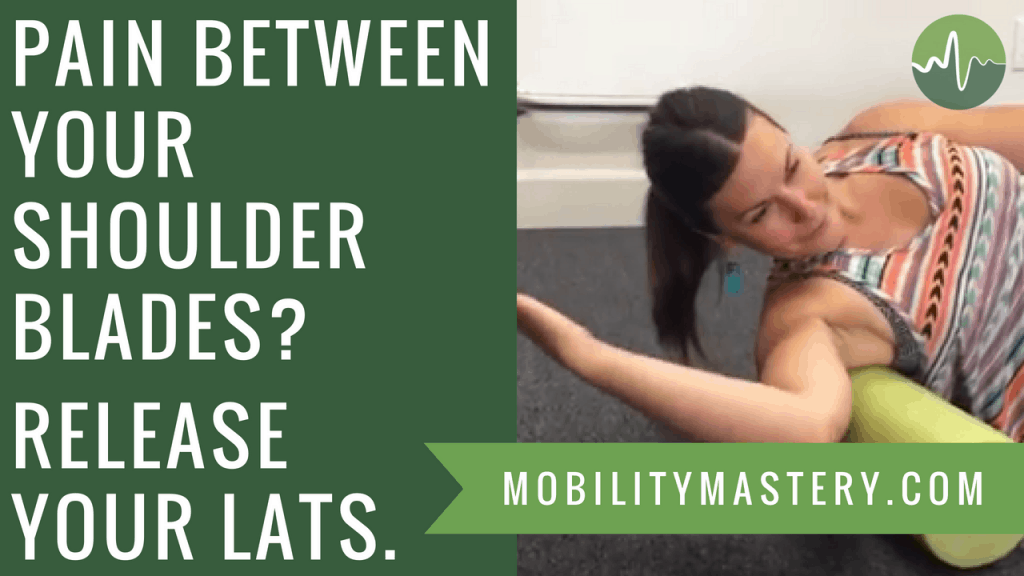 How to Relieve Pain Between the Shoulder Blades - Lat and Rhomboid Release | Want a fast solution for mid back pain or pain between the shoulder blades? Let me walk you through two fast fascial release techniques that should give you significant relief. Click through to my blog post, watch my videos and follow along for the best result!